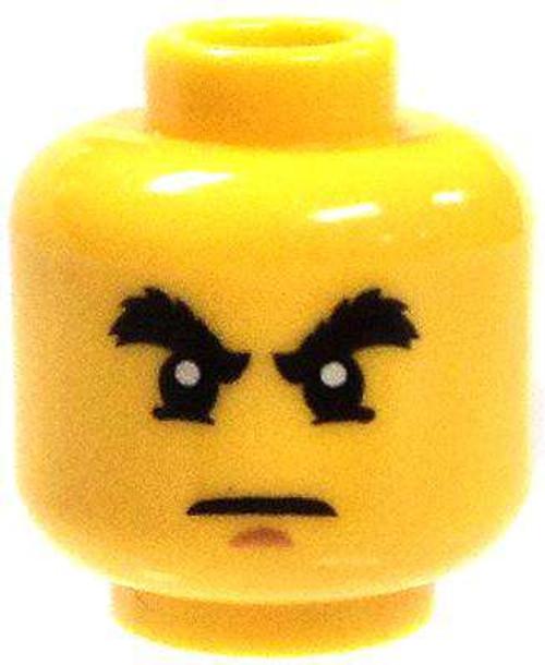 Raised Bushy Eyebrows and White Pupils Minifigure Head [Yellow Male Loose]