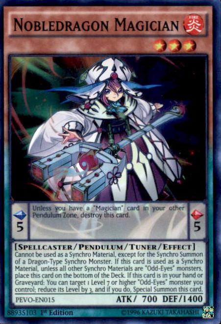 YuGiOh Pendulum Evolution Super Rare Nobledragon Magician PEVO-EN015