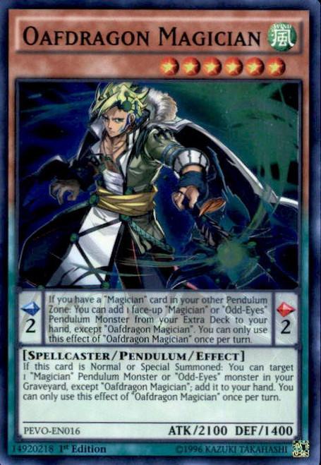 YuGiOh Pendulum Evolution Super Rare Oafdragon Magician PEVO-EN016