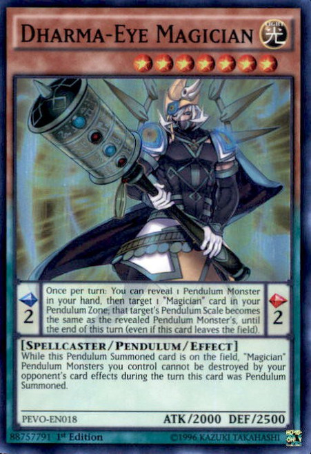 YuGiOh Pendulum Evolution Super Rare Dharma-Eye Magician PEVO-EN018