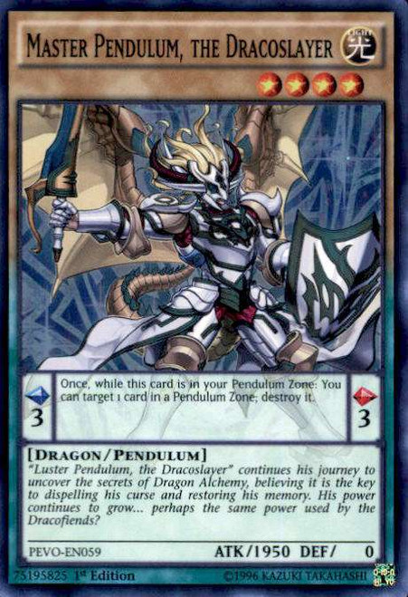 YuGiOh Pendulum Evolution Super Rare Master Pendulum, the Dracoslayer PEVO-EN059