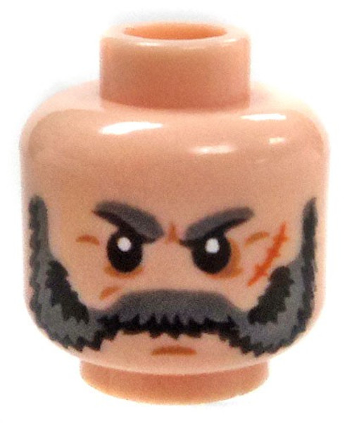 Bushy Eyebrows with Gray Mutton Chops and Mustache Minifigure Head [Light Flesh Loose]