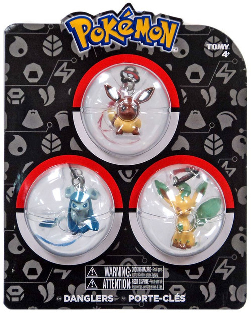 Pokemon Danglers Eevee, Glaceon, & Leafeon 3-Inch Dangler 3-Pack