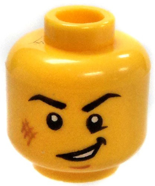 Yellow Male Eager Expression with Scrape on Cheek Minifigure Head [Loose]
