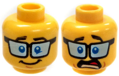 Yellow Male with Big Glasses and Awkward / Terrified Expression Minifigure Head [Dual-Sided Print Loose]