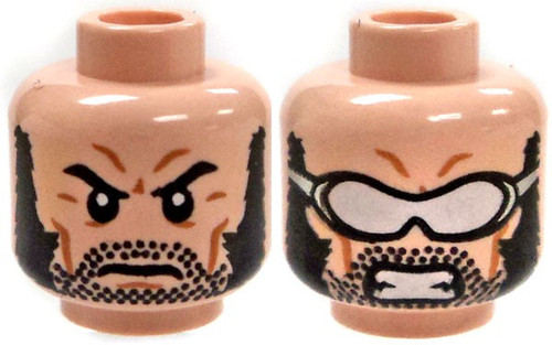 LEGO Wolverine Head, Goggles / Stern Look Head [Dual-Sided Print Loose]