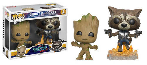 Funko Guardians of the Galaxy Vol. 2 POP! Marvel Groot & Rocket Exclusive Vinyl Bobble Head 2-Pack