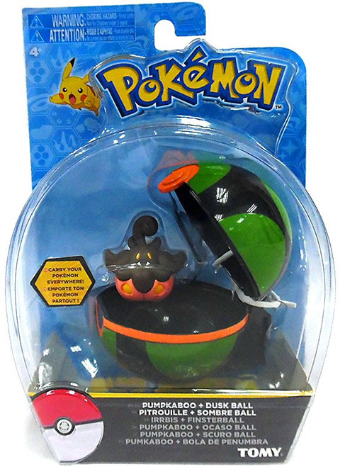 Pokemon Clip n Carry Pokeball Pumpkaboo & Dusk Ball Figure Set