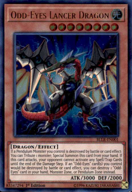 YuGiOh Battles of Legend: Light's Revenge Ultra Rare Odd-Eyes Lancer Dragon BLLR-EN001