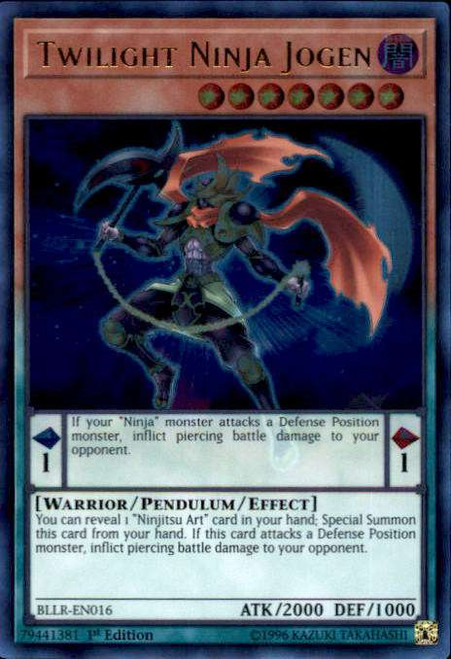 YuGiOh Battles of Legend: Light's Revenge Ultra Rare Twilight Ninja Jogen BLLR-EN016