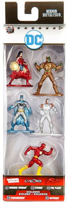 DC Nano Metalfigs Wonder Woman, Cyborg, The Flash, Parademon & Batman 1.5-Inch Diecast Figure 5-Pack