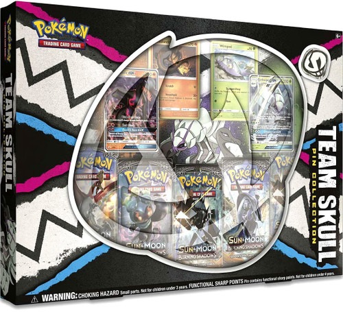 Pokemon Trading Card Game Sun & Moon Burning Shadows Team Skull Pin Collection [5 Booster Packs, 4 Promo Cards & Pin!]