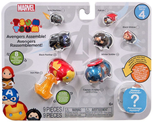 Marvel Tsum Tsum Series 4 War Machine, Falcon, Black Panther, Winter Soldier, Black Widow, Iron Man & Captain America 1-Inch Minifigure 8-Pack [Avengers Assemble!]