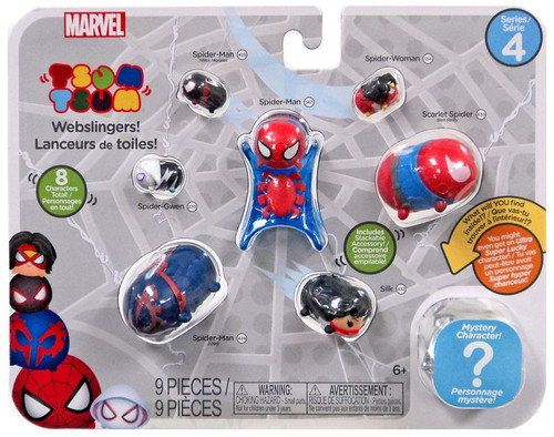 Marvel Iron Man Tsum Tsum Series 4 Miles Morales, Spider-Man, Spider-Woman, Scarlet Spider, Spider-Gwen, Silk & Spider Man 2099 1-Inch Minifigure 8-Pack [Avengers Assemble!]
