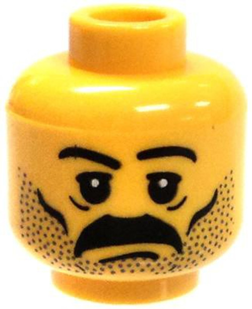 Thick Black Mustache, Stubble, and Slanted Eyebrows Minifigure Head [Yellow Male Loose]