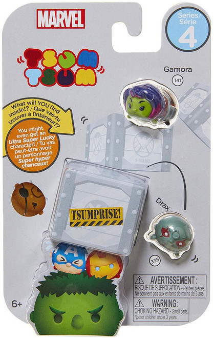Marvel Tsum Tsum Series 4 Gamora & Drax 1-Inch Minifigure 3-Pack #141 & 335