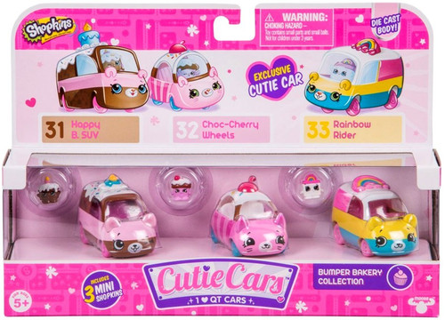 Shopkins Cutie Cars Bumper Bakery Figure 3-Pack #31, 32 & 33 [Happy B. SUV, Choc-Cherry Wheels & Rainbow Rider]