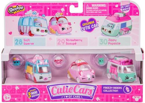 Shopkins Cutie Cars Freezy Riders Figure 3-Pack #28, 29 & 30 [Soft Swerve, Strawberry Scoupe & Zippy Popsicle]