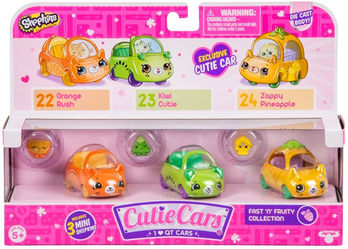 Shopkins Cutie Cars Fast 'n' Fruity Figure 3-Pack #22, 23 & 24 [Orange Rush, Kiwi Cutie & Zappy Pineapple]