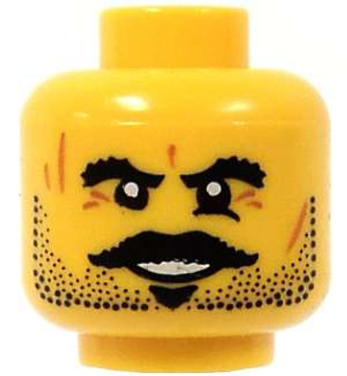 Stubble & Thick Moustache and Brow Minifigure Head [Yellow Loose]