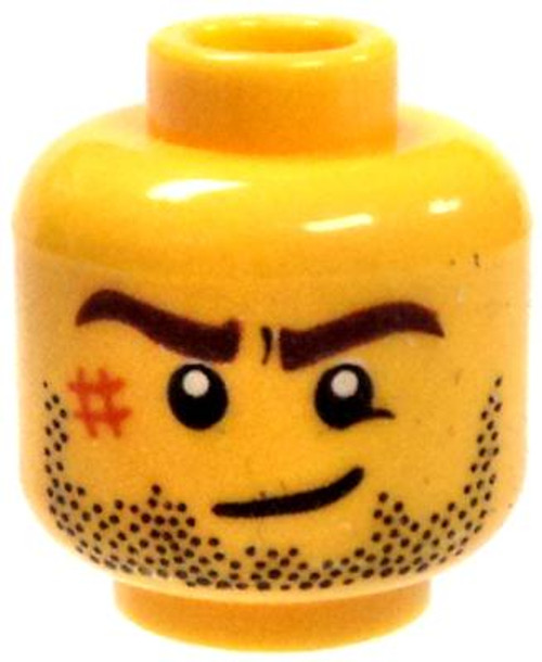 Stubble, Scar, Brown Eyebrows & Crooked Smile Minifigure Head [Yellow Male Loose]