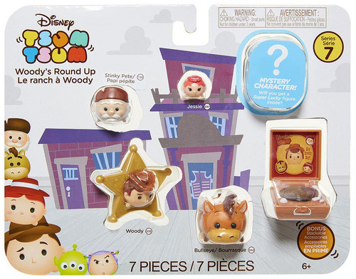 Disney Tsum Tsum Series 7 Stinky Pete, Jessie, Woody & Bullseye 1-Inch Minifigure 7-Pack #726, 337, 332 & 342 [Woody's Round Up]