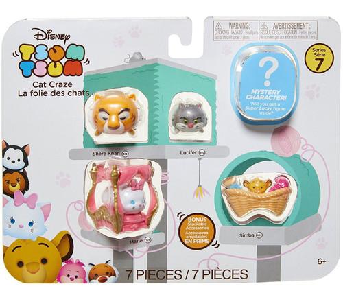 Disney Tsum Tsum Series 7 Shere Khan, Lucifer, Marie & Simba 1-Inch Minifigure 7-Pack #518, 502, 159 & 522