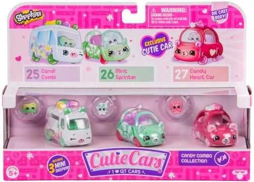 Shopkins Cutie Cars Candy Combo Figure 3-Pack #25, 26 & 27 [Candi Combi, Mint Sprinter & Candy Heart Car]