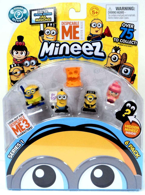 Despicable Me Minions Mineez Series 1 Snorkeling Minion, Picketing Minion, Cheez Head, Jail Time Mel, Edith Mini Figure 6-Pack