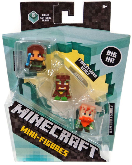 Minecraft Biome Settlers Series 8 Forest Hunter, Forest Wood Beast & Forest Brewer Mini Figure 3-Pack