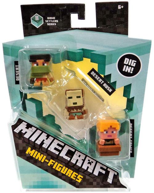 Minecraft Biome Settlers Series 8 Desert Archer, Desert Husk & Desert Tamer Mini Figure 3-Pack