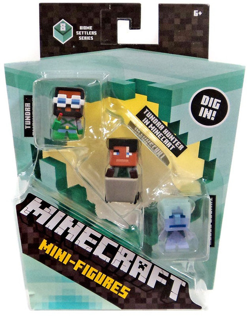 Minecraft Biome Settlers Series 8 Tundra Engineer, Tundra Hunter in Minecart & Tundra Stray Mini Figure 3-Pack