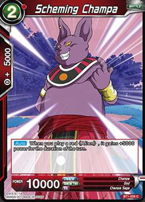 Dragon Ball Super Collectible Card Game Galactic Battle Common Scheming Champa BT1-006