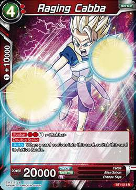 Dragon Ball Super Collectible Card Game Galactic Battle Rare Raging Cabba BT1-013