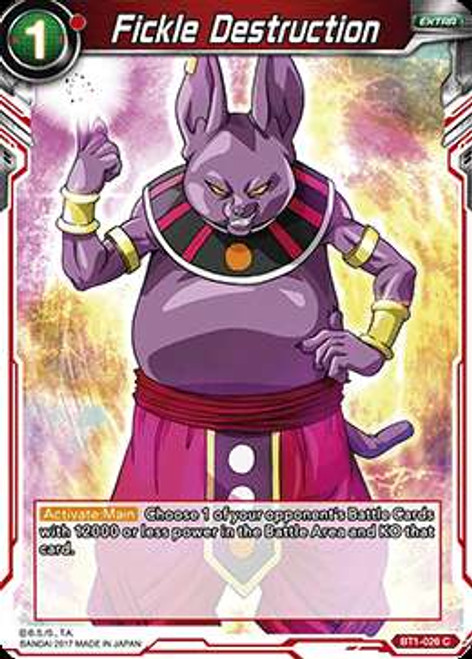 Dragon Ball Super Collectible Card Game Galactic Battle Common Fickle Destruction BT1-026