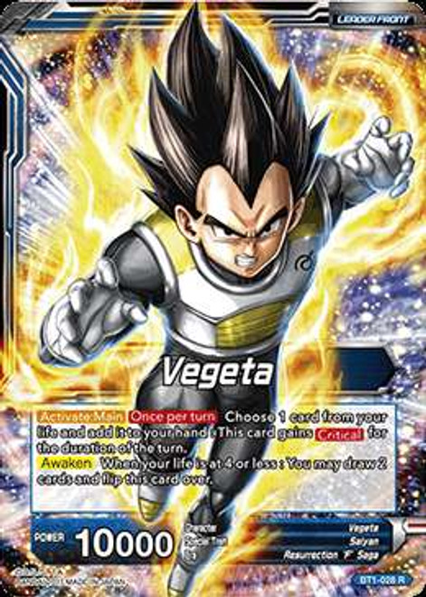 Dragon Ball Super Collectible Card Game Galactic Battle Rare Vegeta BT1-028