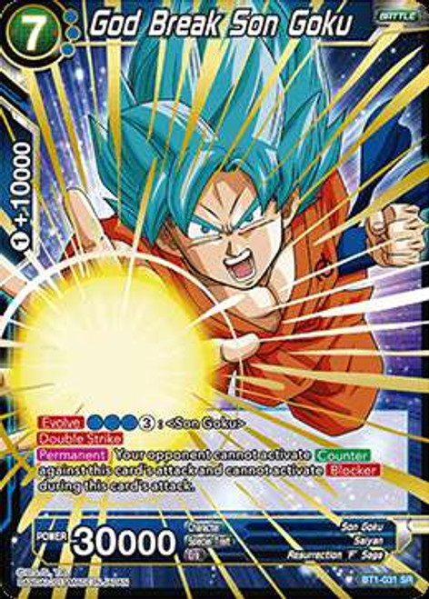Dragon Ball Super Collectible Card Game Galactic Battle Super Rare God Break Son Goku BT1-031