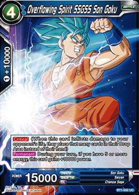 Dragon Ball Super Collectible Card Game Galactic Battle Uncommon Overflowing Spirit SSGSS Son Goku BT1-032