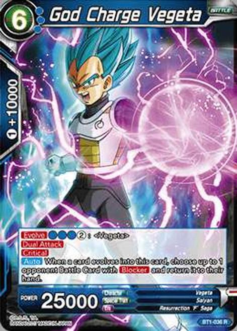 Dragon Ball Super Collectible Card Game Galactic Battle Rare God Charge Vegeta BT1-036