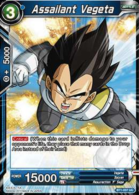 Dragon Ball Super Collectible Card Game Galactic Battle Uncommon Assailant Vegeta BT1-037