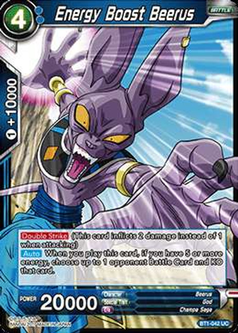 Dragon Ball Super Collectible Card Game Galactic Battle Uncommon Energy Boost Beerus BT1-042