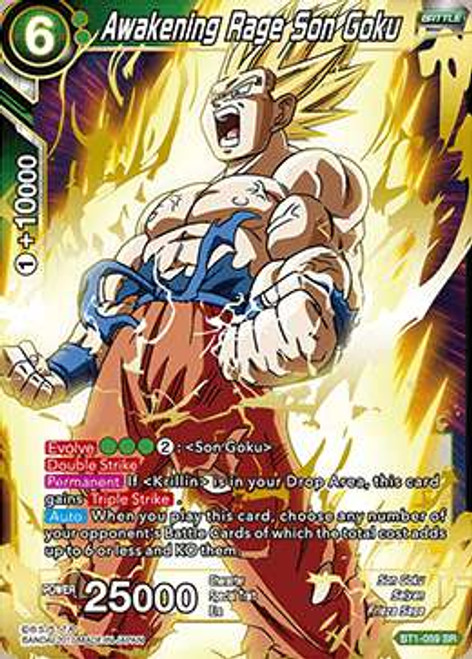 Dragon Ball Super Collectible Card Game Galactic Battle Super Rare Awakening Rage Son Goku BT1-059