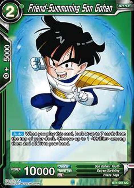 Dragon Ball Super Collectible Card Game Galactic Battle Uncommon Friend-Summoning Son Gohan BT1-061