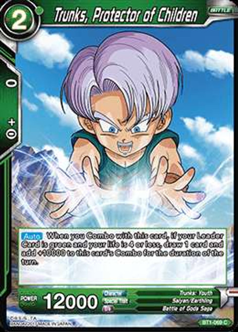 Dragon Ball Super Collectible Card Game Galactic Battle Common Trunks, Protector of Children BT1-069