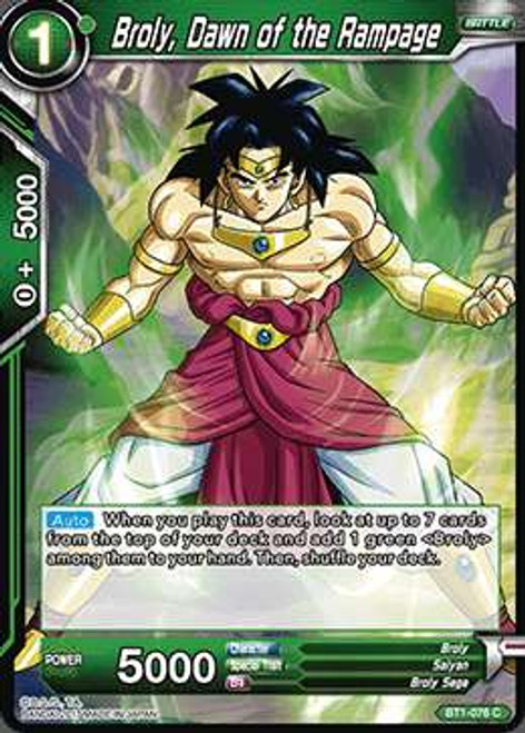 Dragon Ball Super Collectible Card Game Galactic Battle Common Broly, Dawn of the Rampage BT1-076