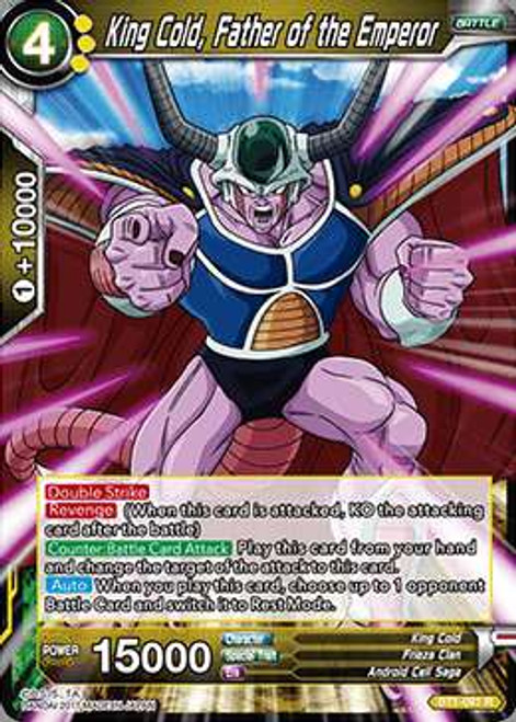 Dragon Ball Super Collectible Card Game Galactic Battle Rare King Cold, Father of the Emperor BT1-091