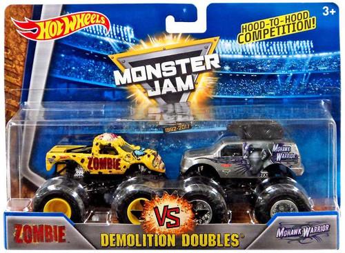 Hot Wheels Monster Jam 25 Demolition Doubles Zombie vs. Mohawk Warrior Diecast Car 2-Pack