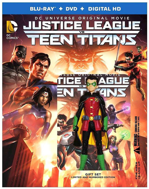 DC Universe Justice League vs Teen Titans Blu-Ray Gift Set [Includes Robin Figurine]