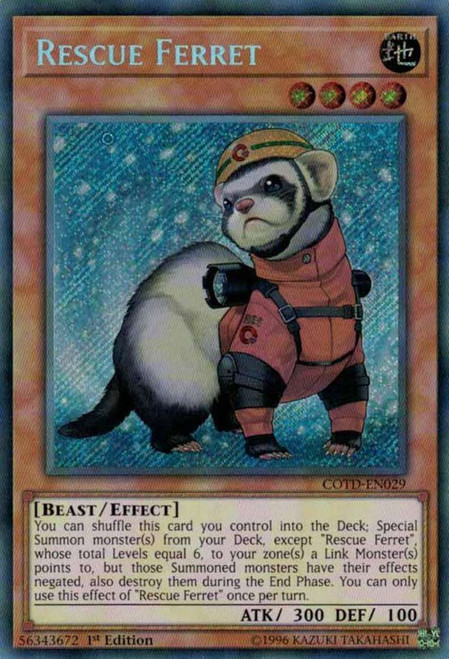 YuGiOh Code of the Duelist Secret Rare Rescue Ferret COTD-EN029