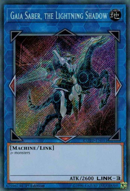YuGiOh Code of the Duelist Secret Rare Gaia Saber, the Lightning Shadow COTD-EN051